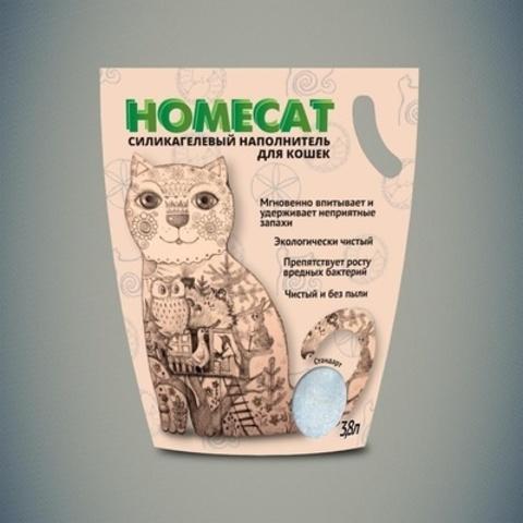 HOMECAT Стандарт силикагелевый наполнитель для кошачьих туалетов без запаха 3,8л