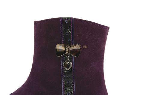 Демисезонные полусапожки Лель (LEL) из натуральной кожи на байке для девочек, цвет фиолетовый. Изображение 14 из 15.