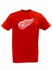 Футболка с принтом НХЛ Детройт Ред Уингз (NHL Detroit Red Wings) красная 001
