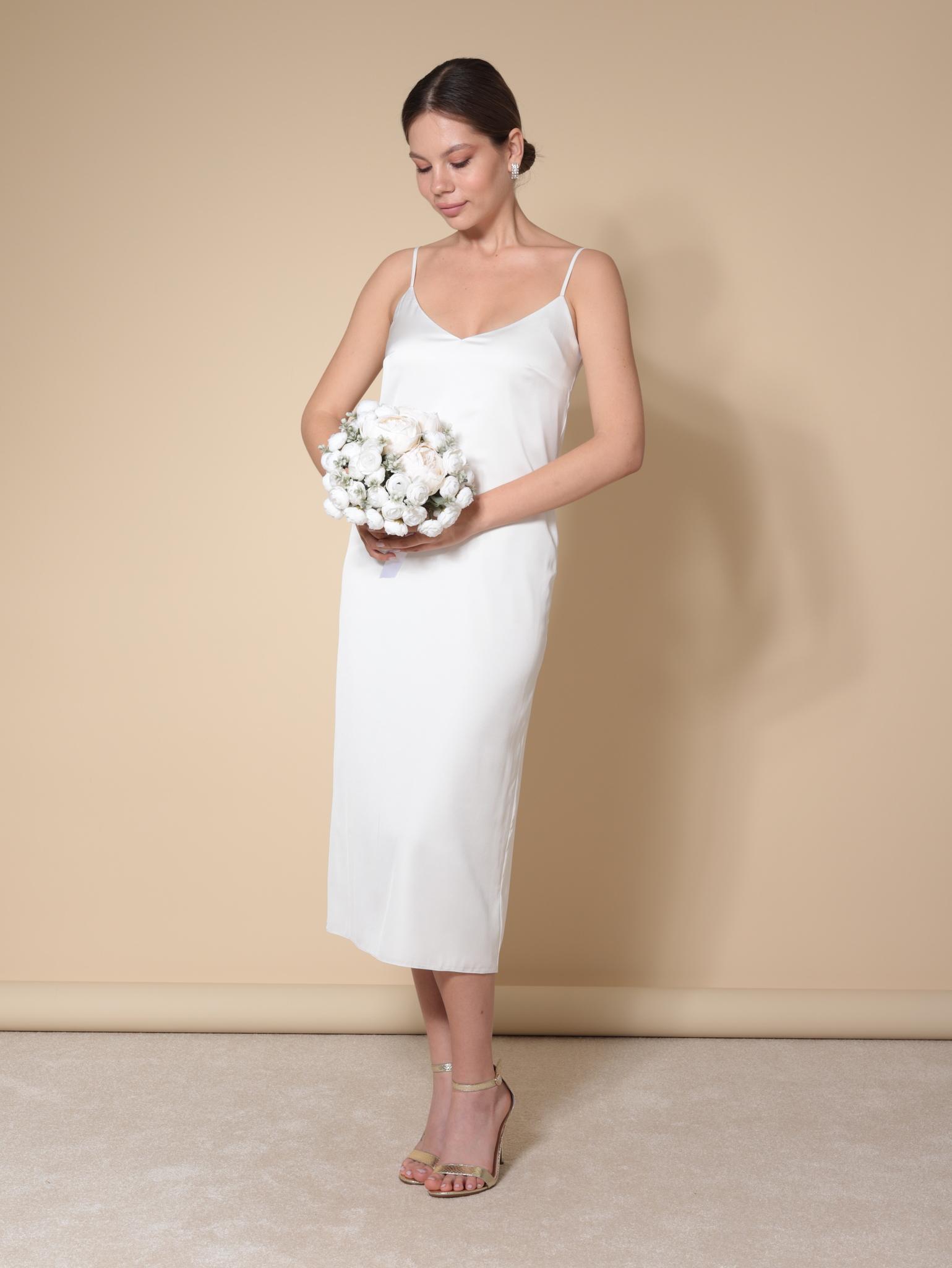 Свадебное платье-комбинация из армани шелка (молочный)