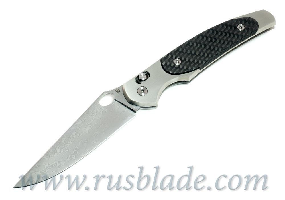 Cheburkov Raven Damascus Titanium CF Folding Knife