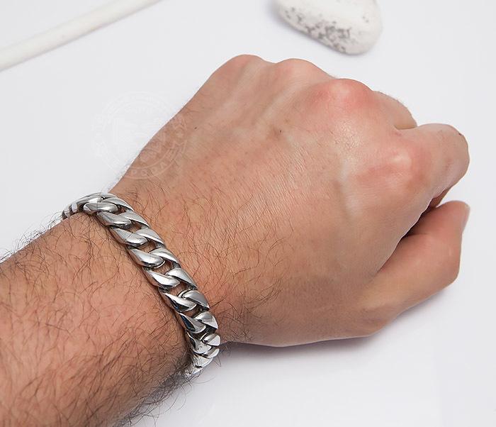 BM467-1 Классический браслет цепь из ювелирной стали (21,5 см) фото 06