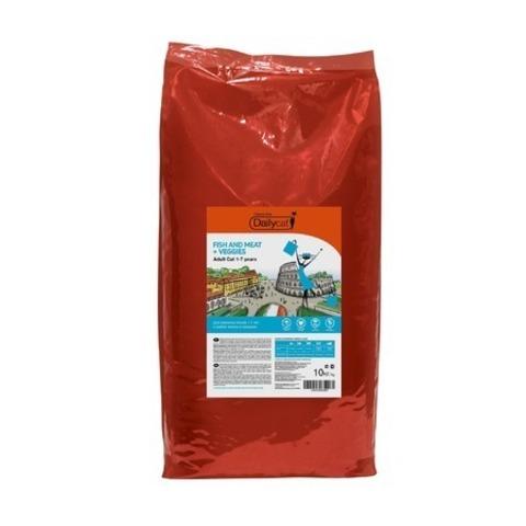 10 кг. Dailycat Casual Line Adult Fish, Meat and Veggies корм для кошек с рыбой, мясом и овощами