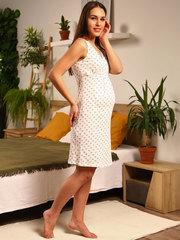 Мамаландия. Сорочка для беременных и кормящих с V-образным вырезом, лапки/белый