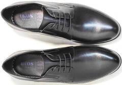 Классические черные туфли мужские дерби Ikoc 3416-1 Black Leather.