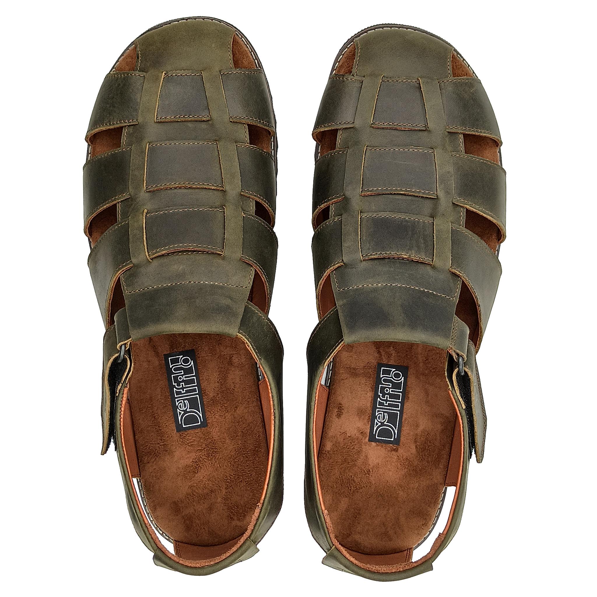 550210 сандалии мужские оливковые больших размеров марки Делфино
