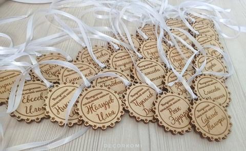 Именная медаль из дерева на выпускной