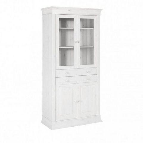 Шкаф с витриной для посуды Бостон А (белый воск)