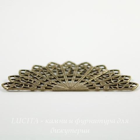 """Винтажный декоративный элемент - филигрань """"Веер"""" 44х23 мм (оксид латуни)"""