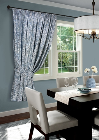 Готовая штора для кухни Спейс голубой