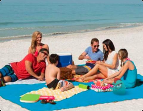 Пляжный коврик Анти песок голубой Sand Free Mat
