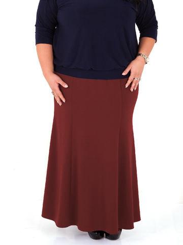 Длинная юбка-годе из джерси, бордовая