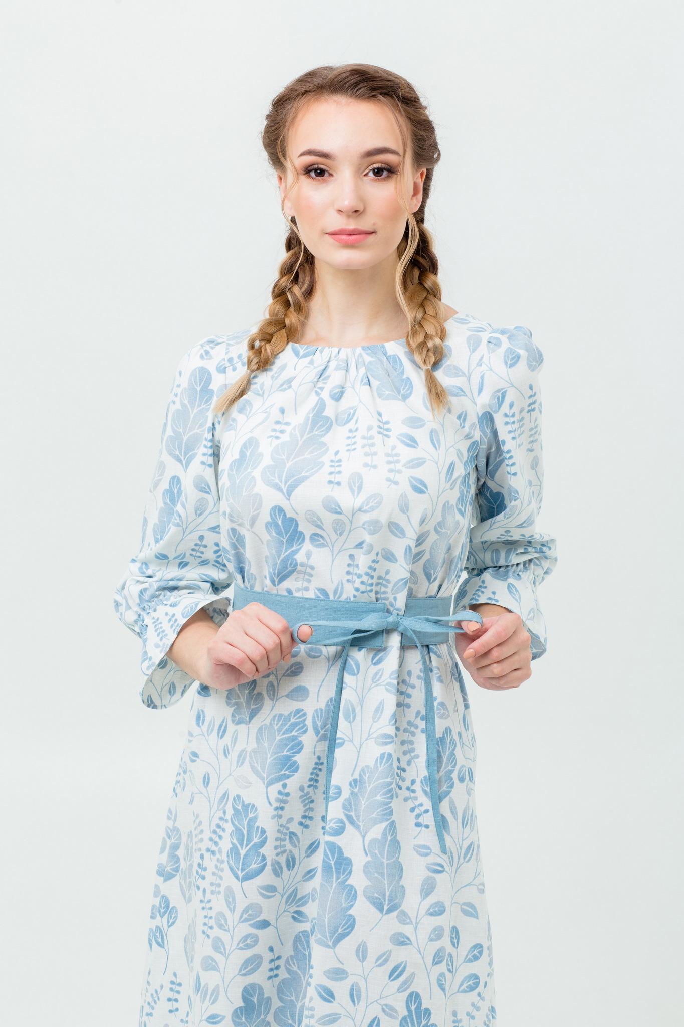 Русский стиль платье Голубая дымка