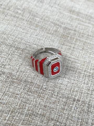 Кольцо Ситрисия, серебро с красными полосками