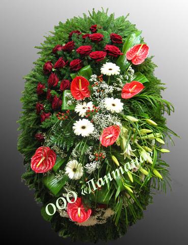 Венок из живых цветов заказной ВЖ-25