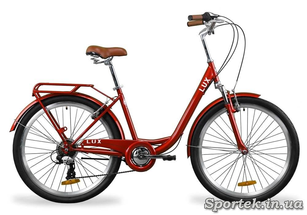 Городской универсальный велосипед Dorozhnik LUX АМ - рубиновый