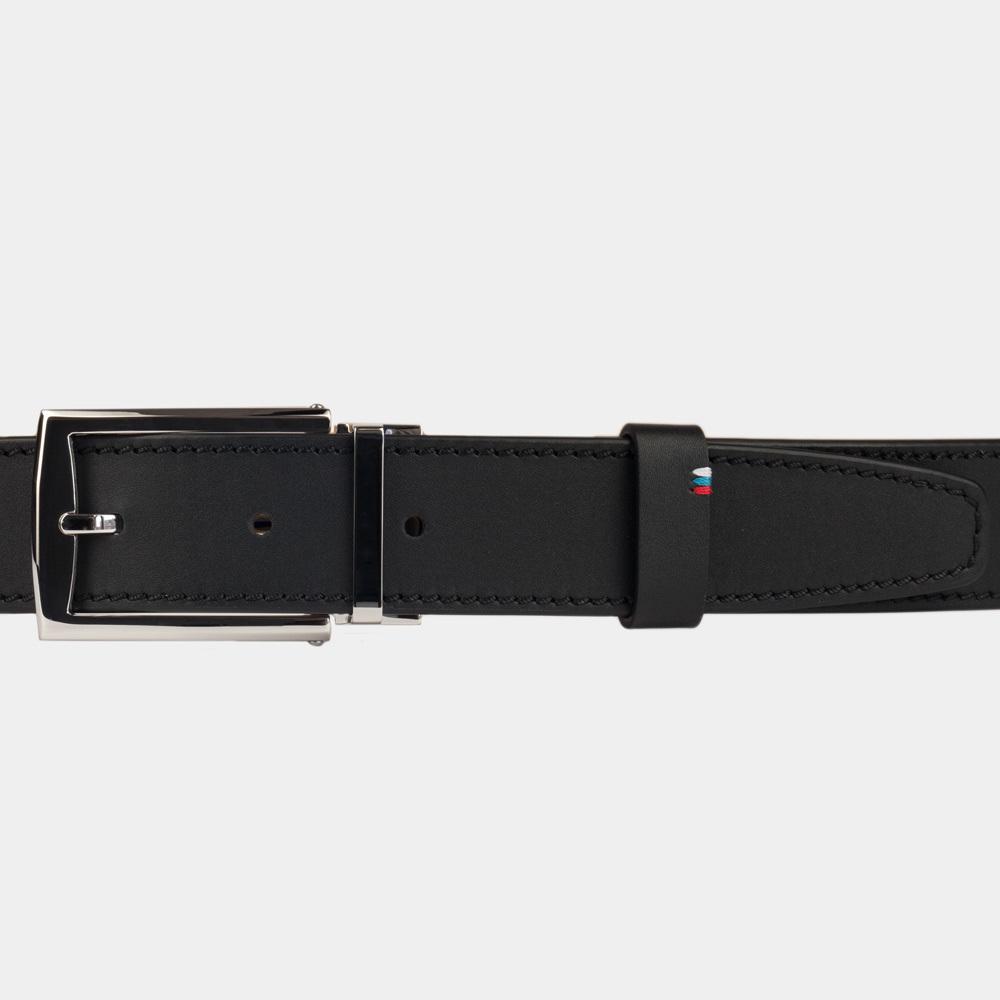 Ремень кожаный мужской черного цвета ширина 35мм