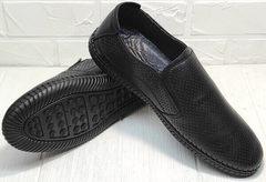 Летняя мужская обувь с перфорацией. Черные слипоны с черной подошвой Ridge Z-291-80 All Black.