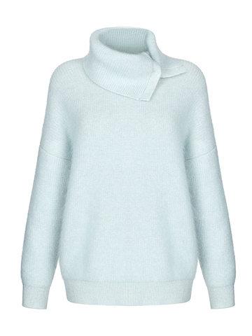 Женский свитер голубого цвета из мохера и кашемира - фото 1