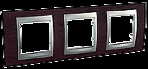Рамка на 3 поста. Цвет Венге-алюминий. Schneider electric Unica Top. MGU66.006.0M3