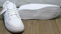Женские туфли на плоской подошве. Сникерсы белые El Passo 820 All White.