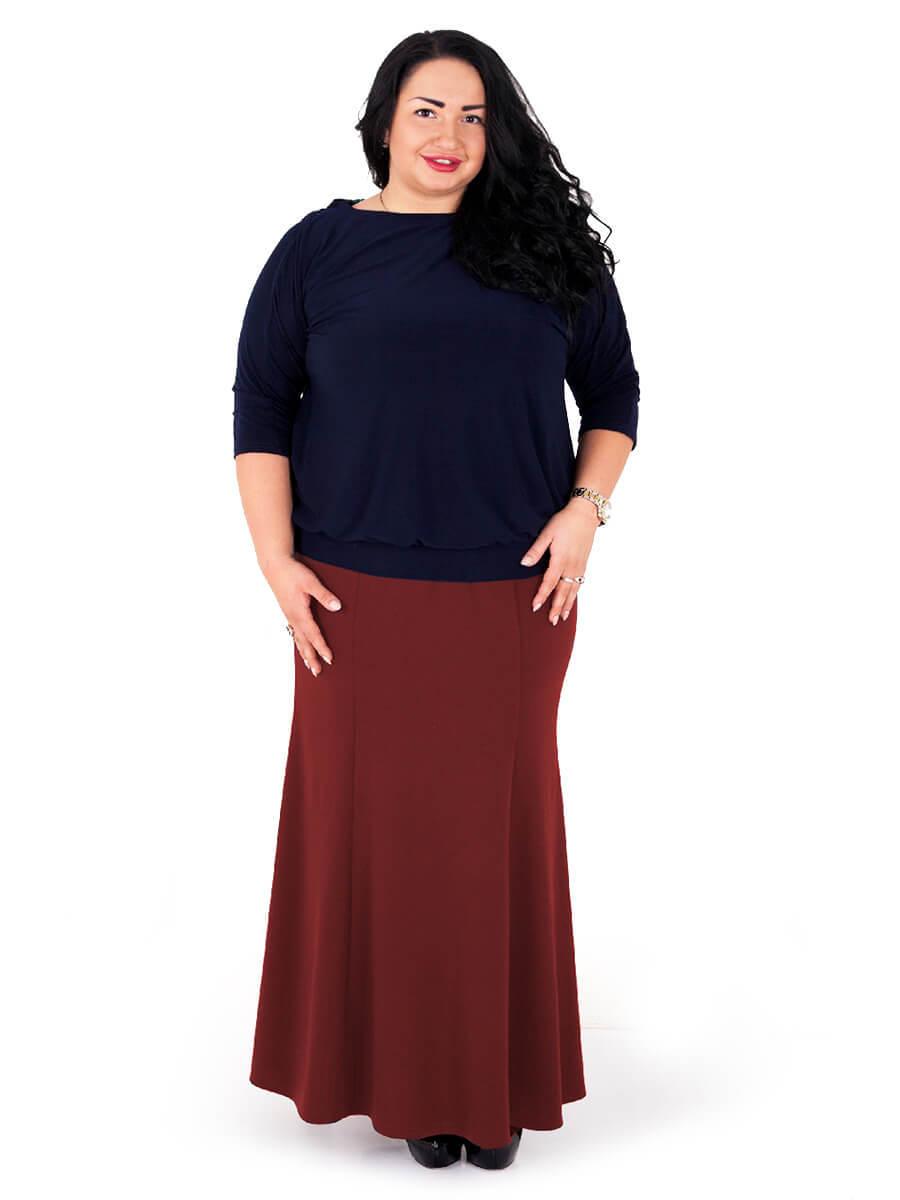 Длинная юбка-годе для полных
