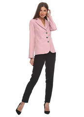 Короткий пиджак розового цвета из костюмной ткани