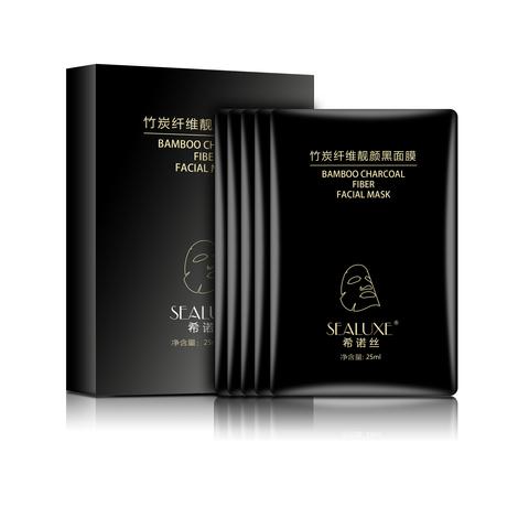 Черная маска для лица с бамбуковым угольным фибром SEALUXE 5*25мл