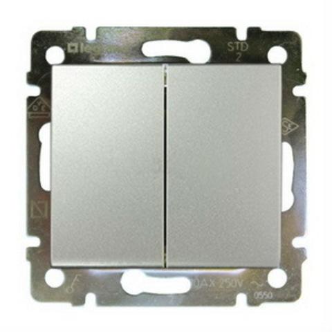 Выключатель двухклавишный - 10 AX - 250 В~. Цвет Алюминий. Legrand Valena Classic (Легранд Валена Классик). 770105