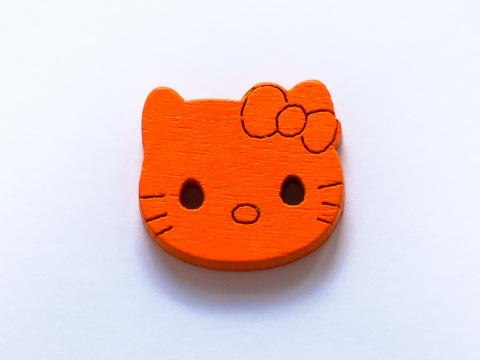 Ґудзики дерев'яні - Кітті, 20 мм, помаранчеві