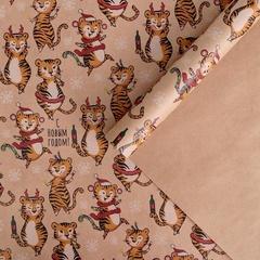 Бумага упаковочная крафтовая, «Веселые тигрули», 50 × 70 см, 2 листа, 1 уп.