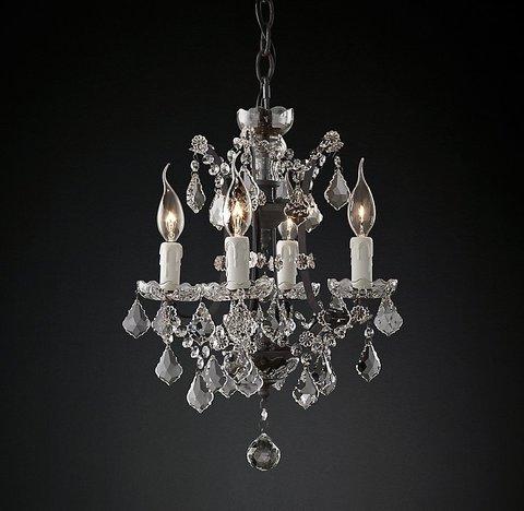 Подвесной светильник копия 19th C. Rococo Iron & Clear Crystal Round Chandelier 14