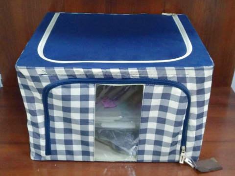 Каркасный короб для хранения одежды 50*40*33 см (синяя клетка)