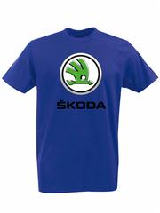 Футболка с принтом Шкода (Škoda) синяя 002