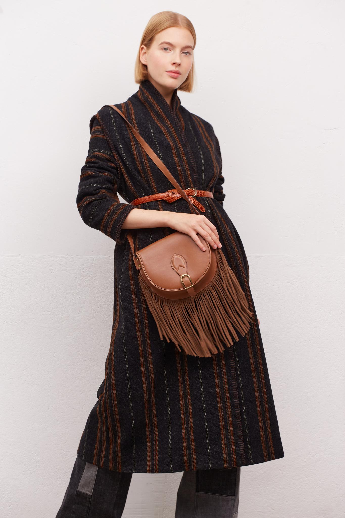 SADE - Пальто в полоску с поясом