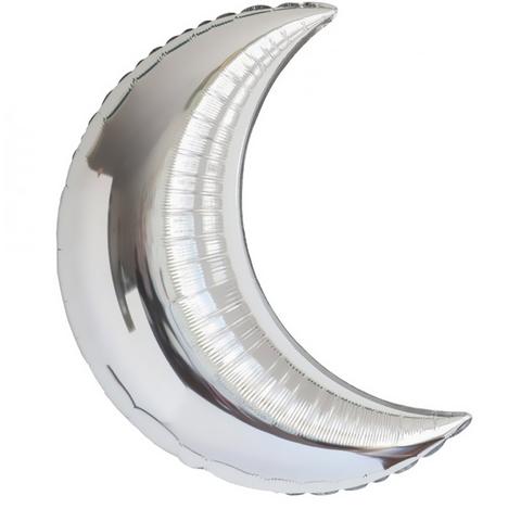 Фольгированный шар полумесяц серебряный