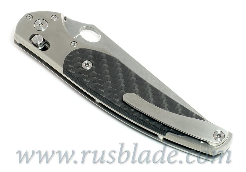 Cheburkov Raven Damascus Titanium CF Folding Knife - фотография