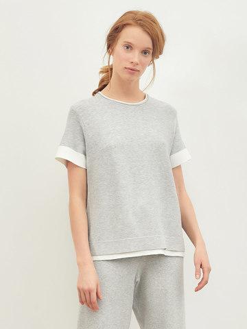 Женская футболка серого цвета из вискозы - фото 2