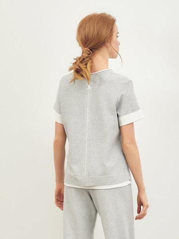 Женская футболка серого цвета из вискозы - фото 4