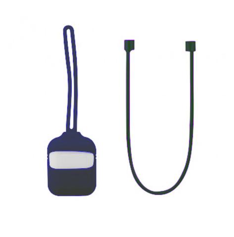 Кейс для Airpods 1/2 с шнурком | темно-синий