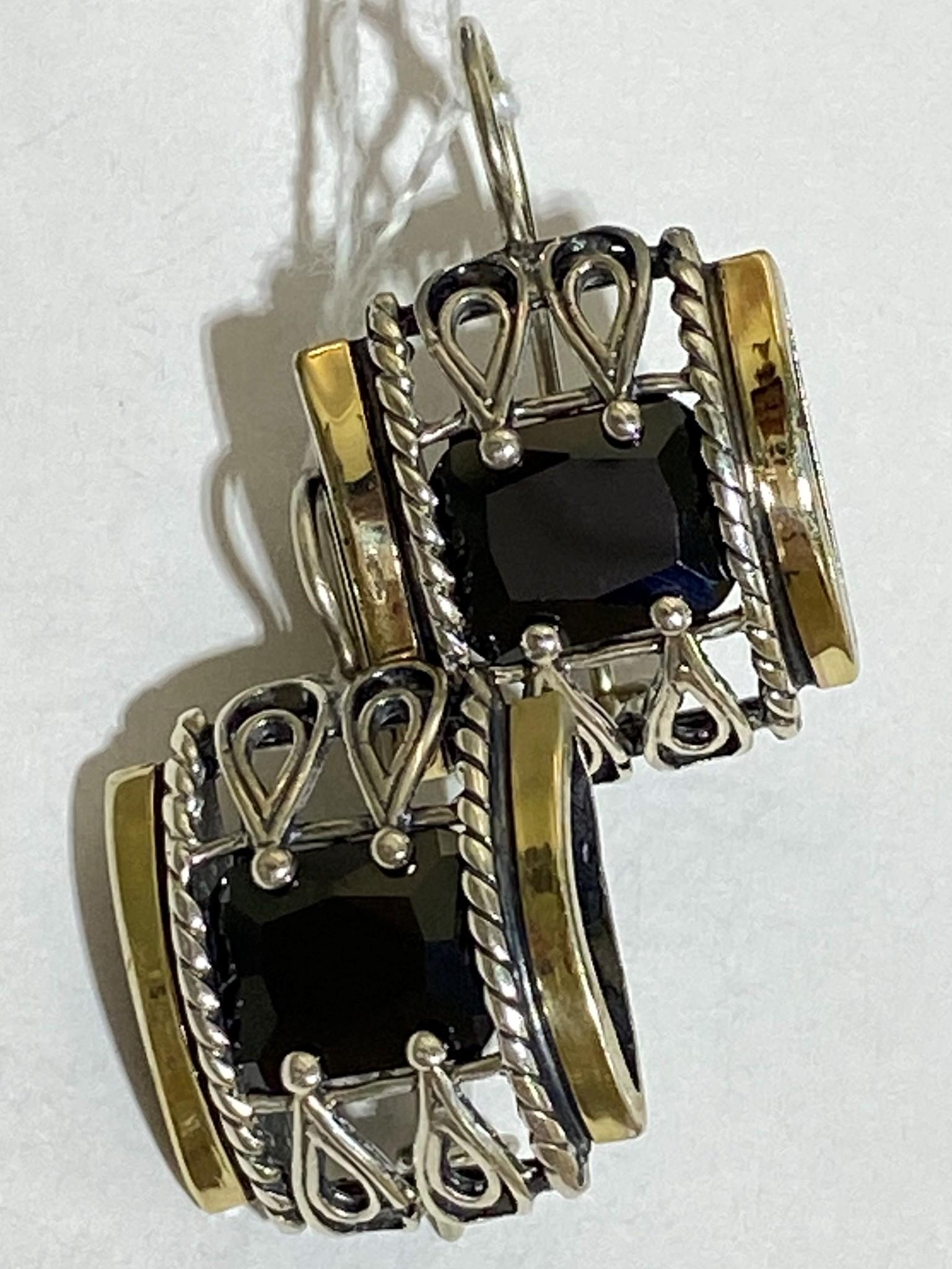 Оникс 1609 (серьги из серебра/золота)