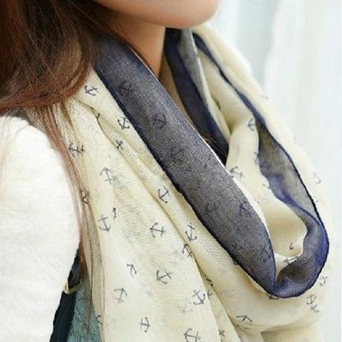 Купить Летний шарфик с маленькими якорями (белый) в Магазине тельняшек