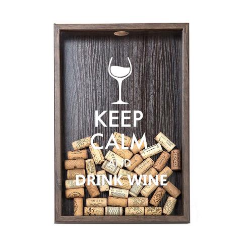 Копилка для винных пробок Keep calm (белая надпись), Венге
