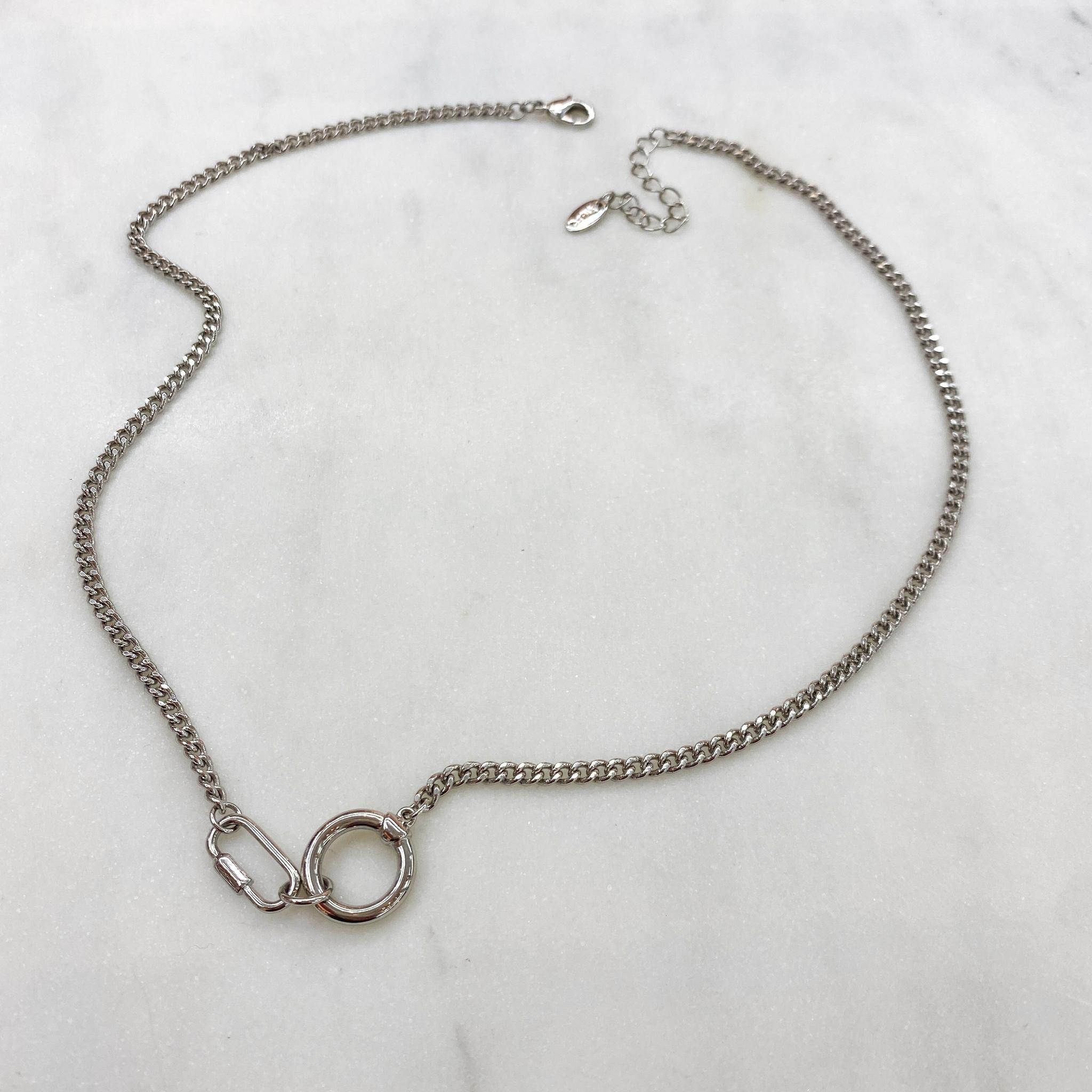 Колье-цепь с карабином и кольцом (серебристый)