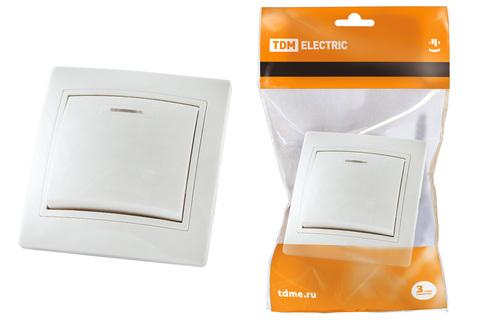 Выключатель 1 кл. с подсветкой 10А белый
