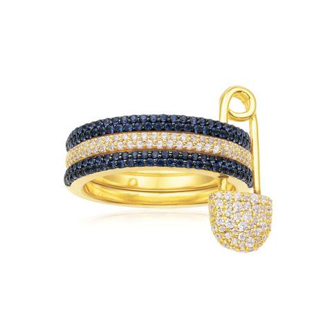 Кольцо с булавкой из золоченого серебра  с синими цирконами, в стиле APM MONACO