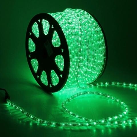 Дюралайт светодиодный, двухпроводной, круглый 13 мм, Зеленый, 36 LED/м, кратность резки 2 метра