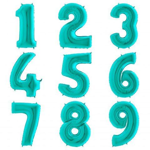 Бирюзовая цифра с гелием 102 см