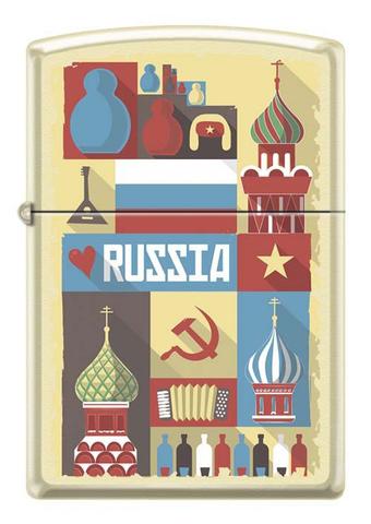 Зажигалка Zippo Открытка из России, латунь/сталь с покрытием Cream Matte, кремовая, 36x12x56 мм123