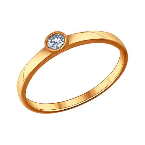 Серебряное кольцо  с фианитом и позолотой